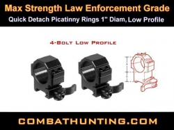 "Quick Detach Picatinny Rings 1"" Diam, Low Profile"