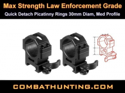 Quick Detach Picatinny Rings 30mm Med Profile