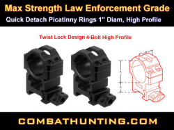 "QD Picatinny Rings 1"" Diam High Profile Twist Lock"