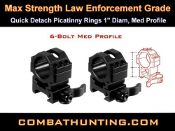 "Quick Detach Picatinny Rings 1"" Diam, Med Profile"