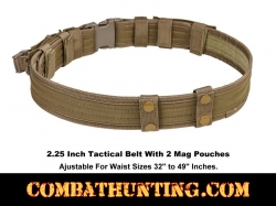 "Tan Tactical Belt  2.25"" With 2 Mag Pouches & 4 Belt Keepers"