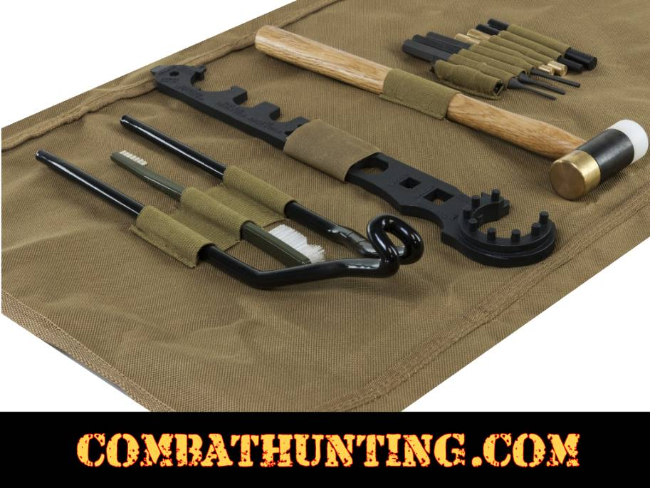 AR15/M4 Gunsmithing Tool Kit With TAN Cleaning Mat style=